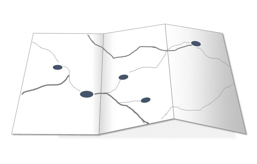 Aufgeschlagene Landkarte mit Orten und Wegen