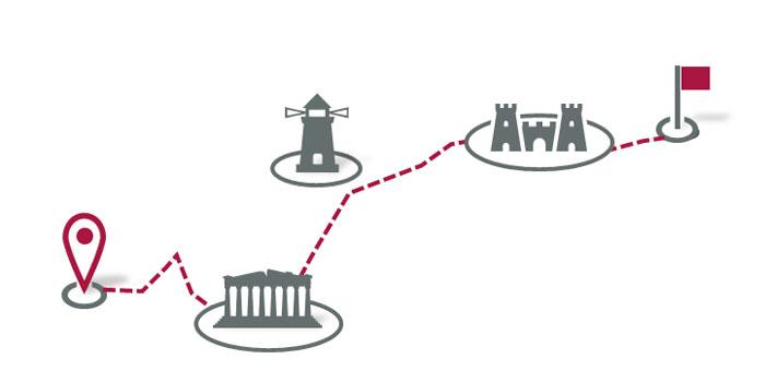 Rote Tour mit Anfangs- und Zielpunkt sowie Sehenswürdigkeiten