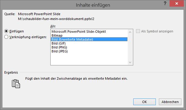 Screenshot Word Dialogfeld Inhalte einfügen