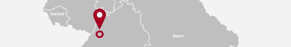 Ausschnitt der Landkarte mit rotem Marker; unter dem Marker befindet sich nunmehr ein roter Kreis