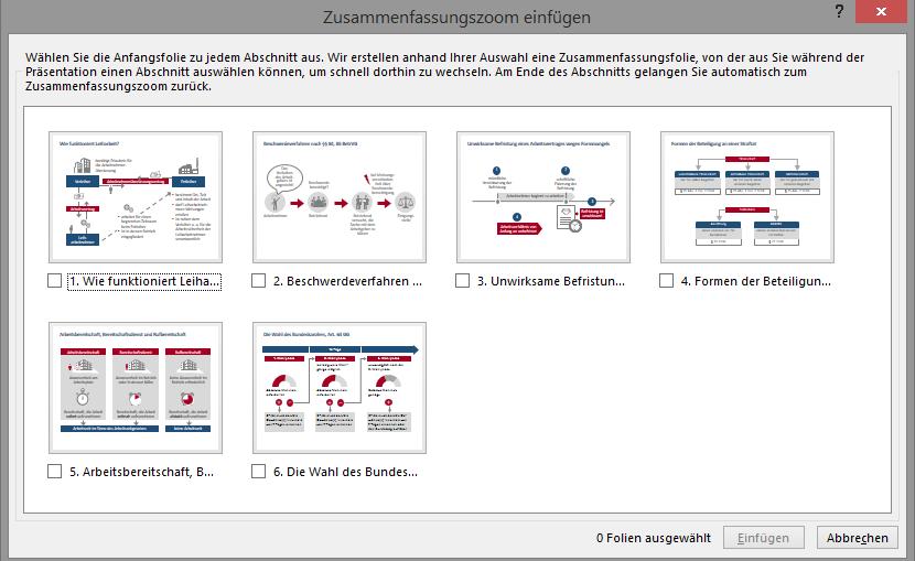 Screenshot des Dialogfeldes Zusammenfassungszoom einfügen mit sechs Folienminiaturen