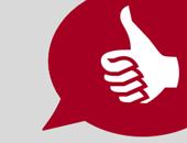 rote Sprechblase mit Daumen-hoch-Symbol