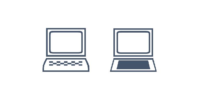 Laptop als Schriftsymbol und als Vektorgrafik, die Vektorgrafik hat eine leicht abgewandelte Form und eine andere Tastatur