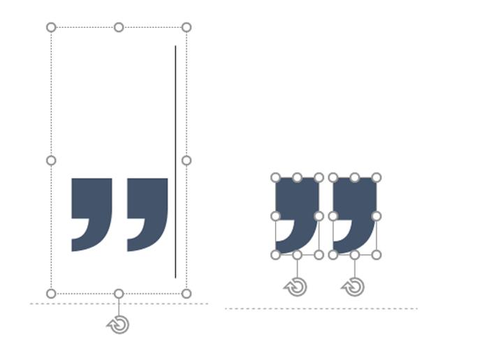 Um 180 Grad gedrehte Anführungsszeichen aus der Symbolschrift Wingdings im Textfeld und als Vektorgrafik