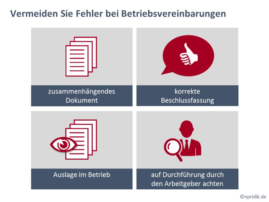 """PowerPoint-Folie zum Thema """"Vermeiden Sie Fehler bei Betriebsvereinbarungen"""" mit verschiedenen Symbolen und dazugehörigem Text"""