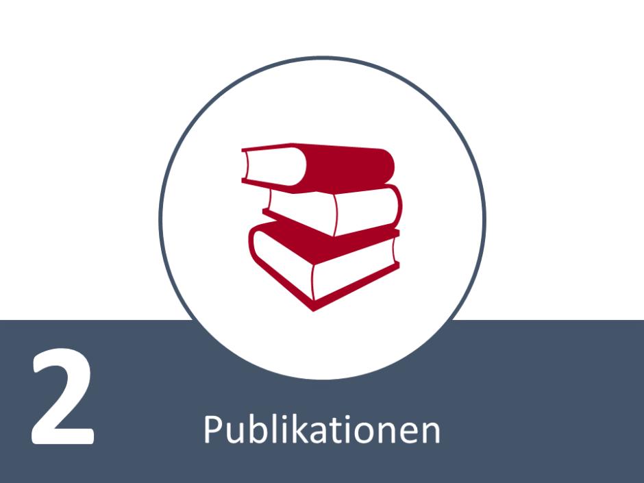 PowerPoint-Folie mit Bücherstapel-Symbel, einer großen 2 und dem Schriftzug Publikationen