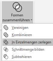 Screenshot PowerPoint: Menü Formen zusammenführen