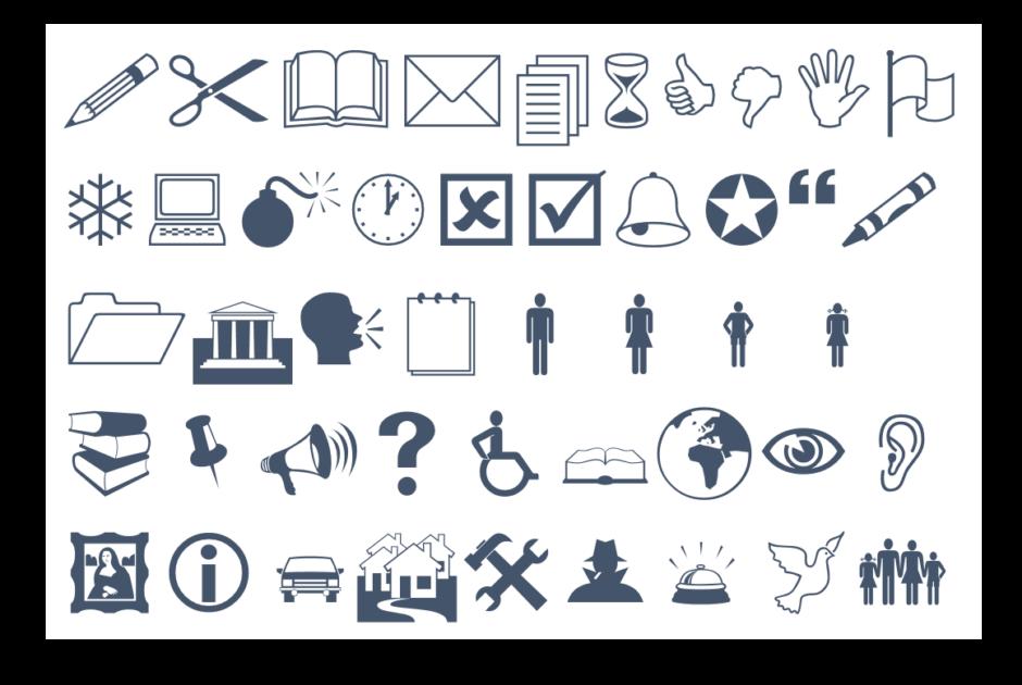 Symbole aus den Schriften Wingdings, Wingdings 2 und Webdings