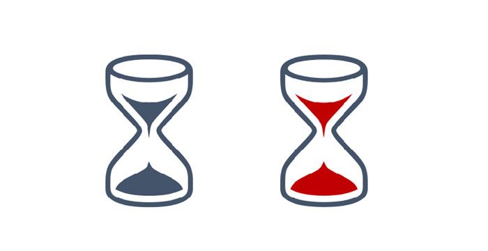 blaue Sanduhr als Schriftsymbol und als Vektorgrafik, bei der Vektorgrafik ist der Sand rot eingefärbt
