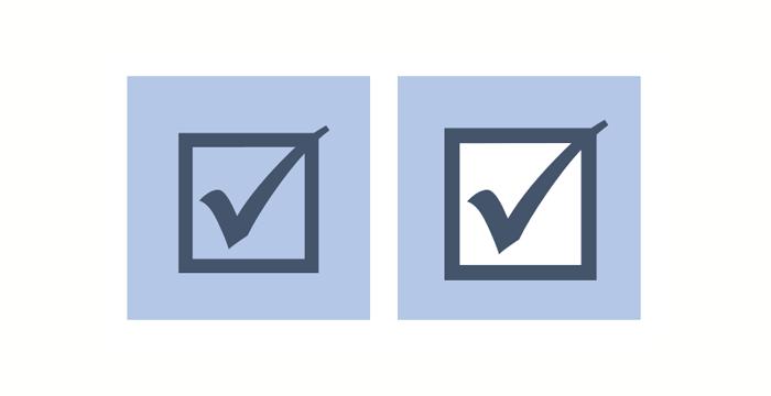 Kontrollkästchen mit Haken als Schriftsymbol und als Vektorgrafik, jeweils auf blauem Hintergrund; bei der Vektorgrafik hat das Kästchen eine weiße Füllfarbe