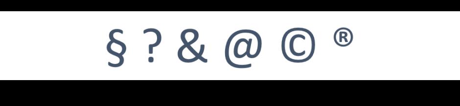 Paragraf, Fragezeichen, Et-Zeichen, At-Zeichen, Copyright-Zeichen, Registered-Zeichen
