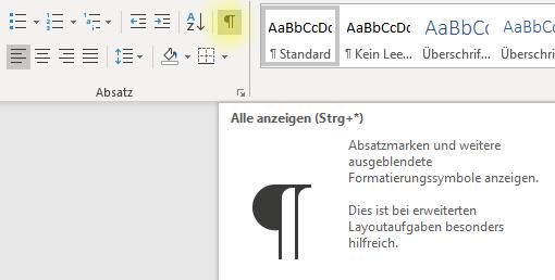 """Screenshot Zeichen für """"Alle anzeigen"""" in Word"""