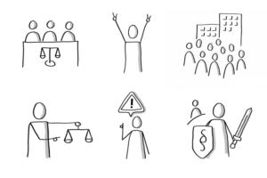 Sechs handgezeichnete Menschen-Icons