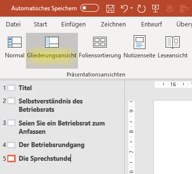 Screenshot PowerPoint: Folientitel in der Gliederungsansicht