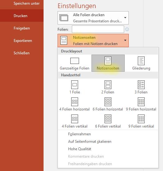 Screenshot PowerPoint: Notizenseiten drucken