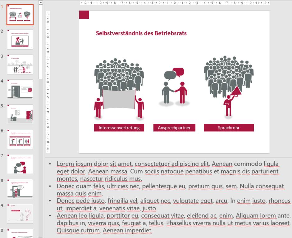 Screenshot PowerPoint: Folie in der Normalansicht mit Notizen