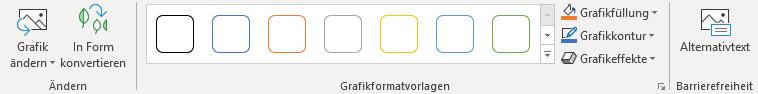 Screenshot Menüleiste in PowerPoint: Bearbeitung von Piktogrammen