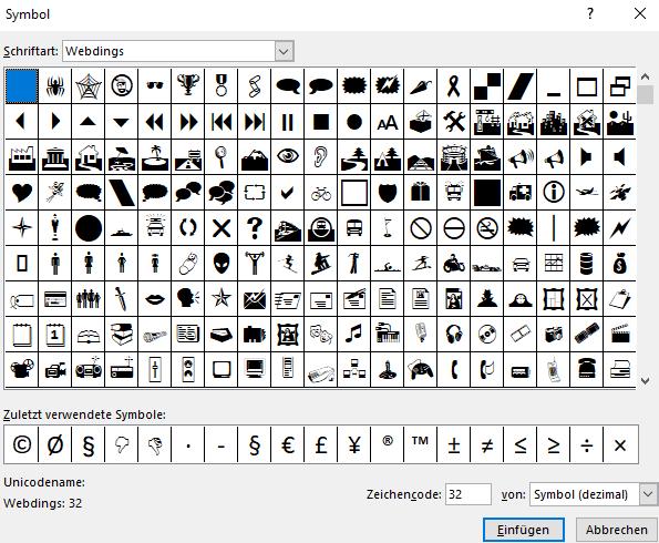 Screenshot PowerPoint: Dialogfeld Symbol einfügen