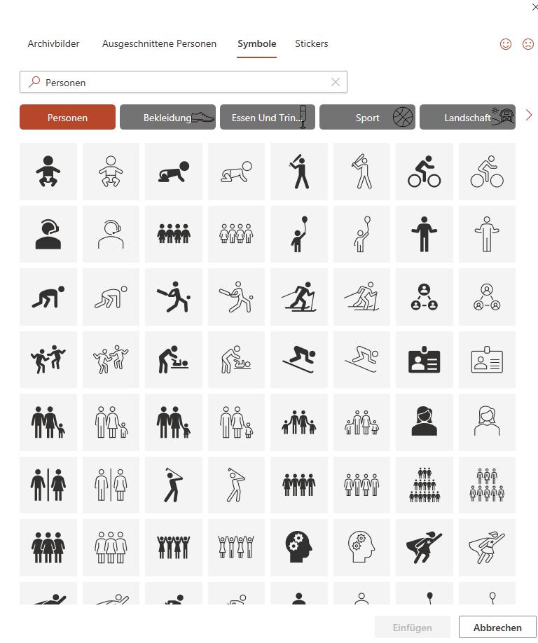 Screenshot Piktogramm-Sammlung in PowerPoint (Abo-Version 2020)