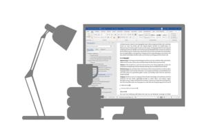 Anzeige eines Textes in Word auf einem Computerbildschirm