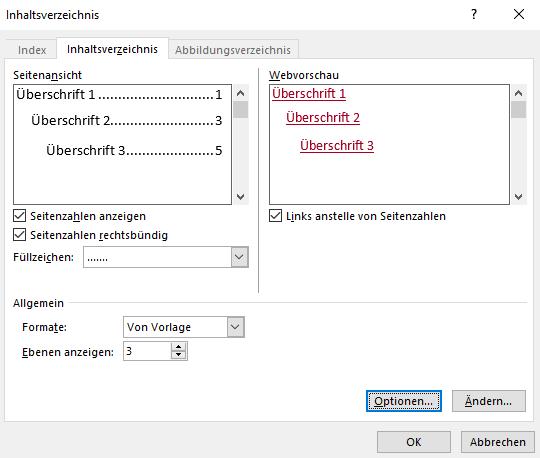 Dialogfeld zur Erstellung eines benutzerdefinierten Inhaltsverzeichnisses