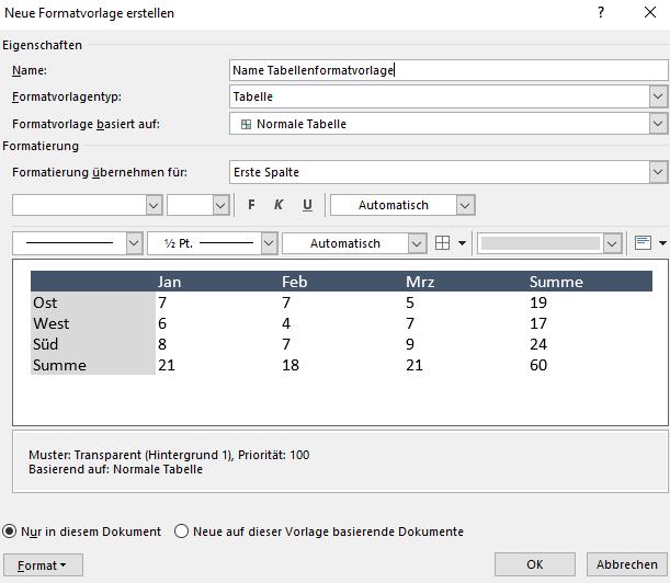 Neue Tabellenformatvorlage erstellen im Dialogfeld Neue Formatvorlage erstellen