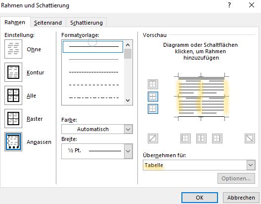 Screenshot Word: Dialogfeld Rahmen und Schattierung