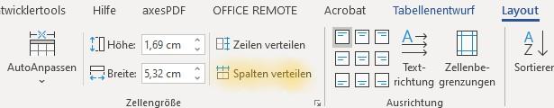 Screenshot Word: Funktion Spalten verteilen auf der Registerkarte Tabellenlayout
