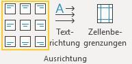 Screenshot Word: Ausrichtungsfunktion auf der Registerkarte Tabellenlayout