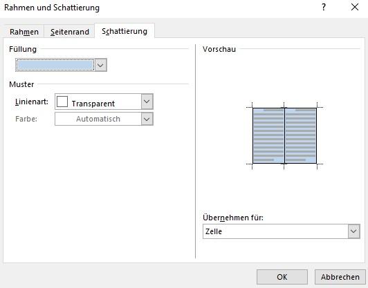 Screenshot Word: Farbe der Zellenfüllung im Dialogfeld Rahmen und Schattierung ändern