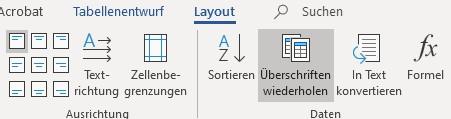 Screenshot Word: Funktion Überschriften wiederholen auf der Registerkarte Tabellenlayout