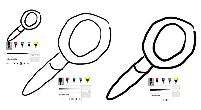 Verhältnis von Objektgröße und Linienstärke beim Zeichnen in PowerPoint