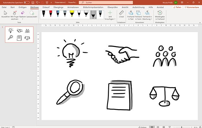 Screenshot PowerPoint: Registerkarte Zeichnen und Folie mit sechs handgezeichneten Icons, diesmal mit Schatten