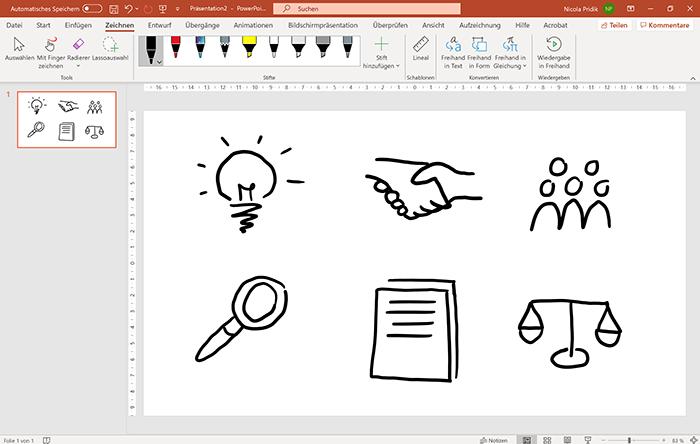 Screenshot PowerPoint: Registerkarte Zeichnen und Folie mit sechs handgezeichneten Icons