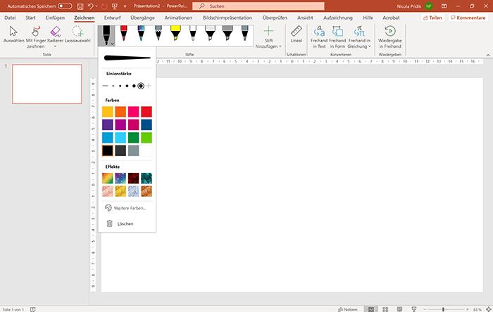 Screenshot PowerPoint, Registerkarte Zeichnen und Kontextmenü schwarzer Stift