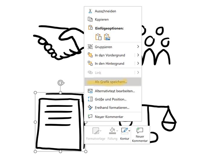 """Kontextmenü eines handgezeichneten Icons, markiert ist der Menüpunkt """"Als Grafik speichern"""""""