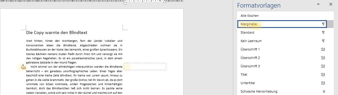 Screenshot Word: Ausschnitt Textseite und Formatvorlagen-Fenster nach Anwendung der Formatvorlage für Marginalien auf eine Leerzeile