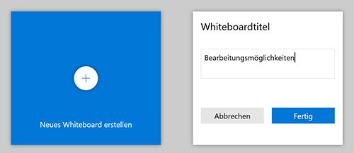 Screenshot Microsoft Whiteboard: Whiteboardtitel eingeben