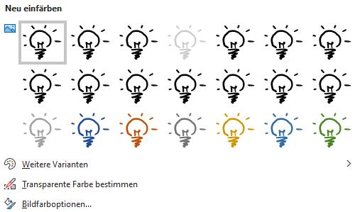 """Screenshot PowerPoint: aufgeklapptes Menü """"Farbe"""" der Registerkarte """"Bildformat"""", Beispiel Glühbirne"""
