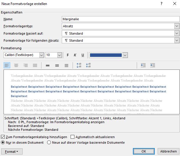 Screenhsot Word: Dialogfeld Neue Formatvorlage erstellen mit möglichen Einstellungen für strukturierende Marginalien