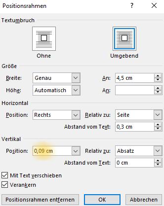 Screenshot Word: Dialogfeld Positionsrahmen mit angepasstem Wert für die vertikale Position bei nicht registerhaltiger Marginalie