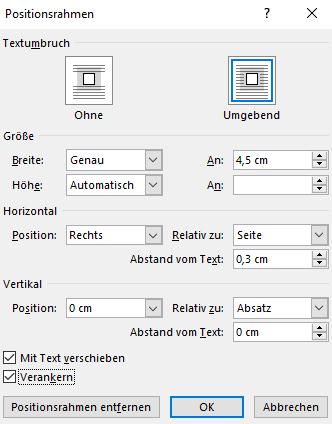 Screenshot Word: Dialogfeld Positionsrahmen mit möglichen Einstellungen für strukturierende Marginalien