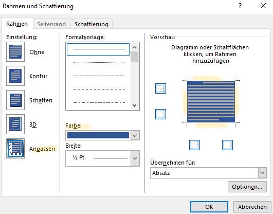 Screenshot Word: Dialogfeld Rahmen und Schattierung, Reiter Rahmen mit Einstellungen für blauen Überschriftenkasten