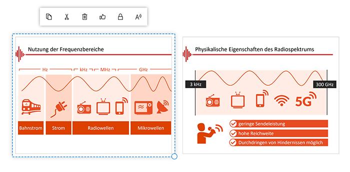 Screenshot Microsoft Whiteboard: markierte PDF-Seite auf der Zeichenfläche