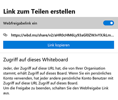 Screenshot Microsoft Whiteboard: Link zu Teilen erstellen