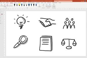Sechs handgezeichnete Icons auf einer PowerPoint-Folie