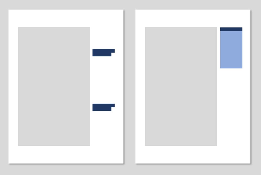 Zwei stilisierte Textseiten mit Marginalien