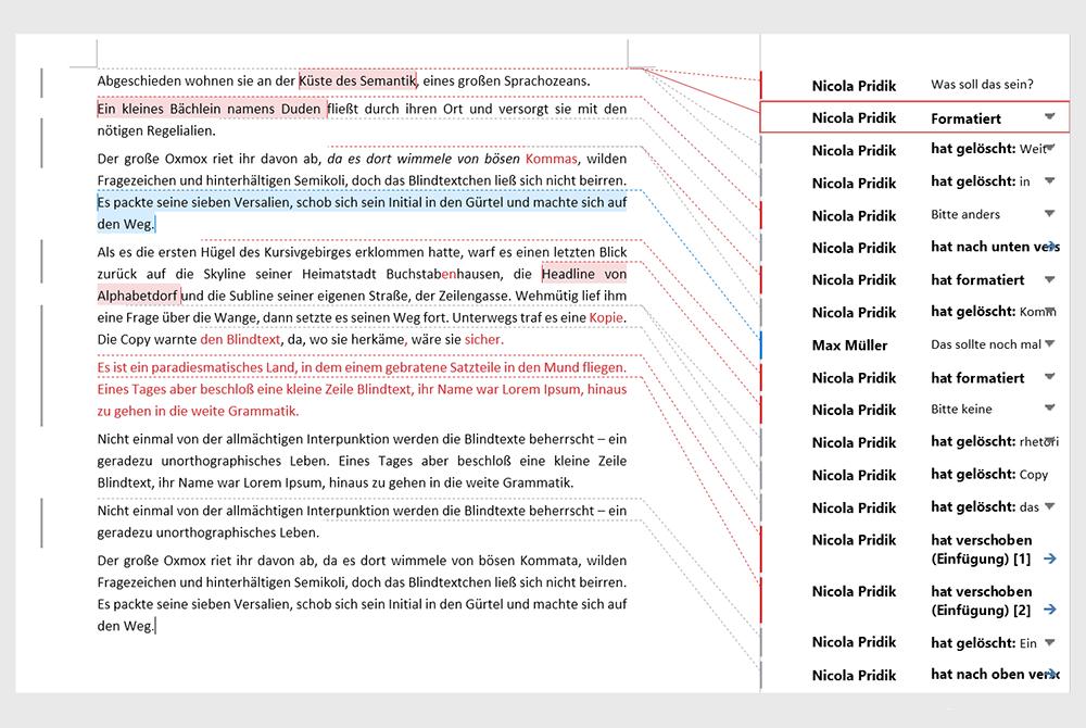 Mit der Änderungen-nachverfolgen-Funktion bearbeiteter Text