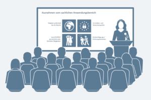 Projizierte PowerPoint-Folie mit Icons während eines Vortrags