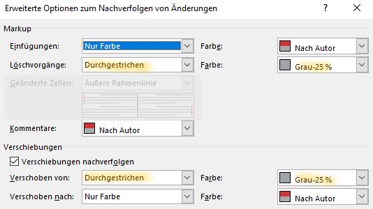 Einstellung für Änderungen in Word: Gelöschten Text inline und in hellgrau anzeigen lassen